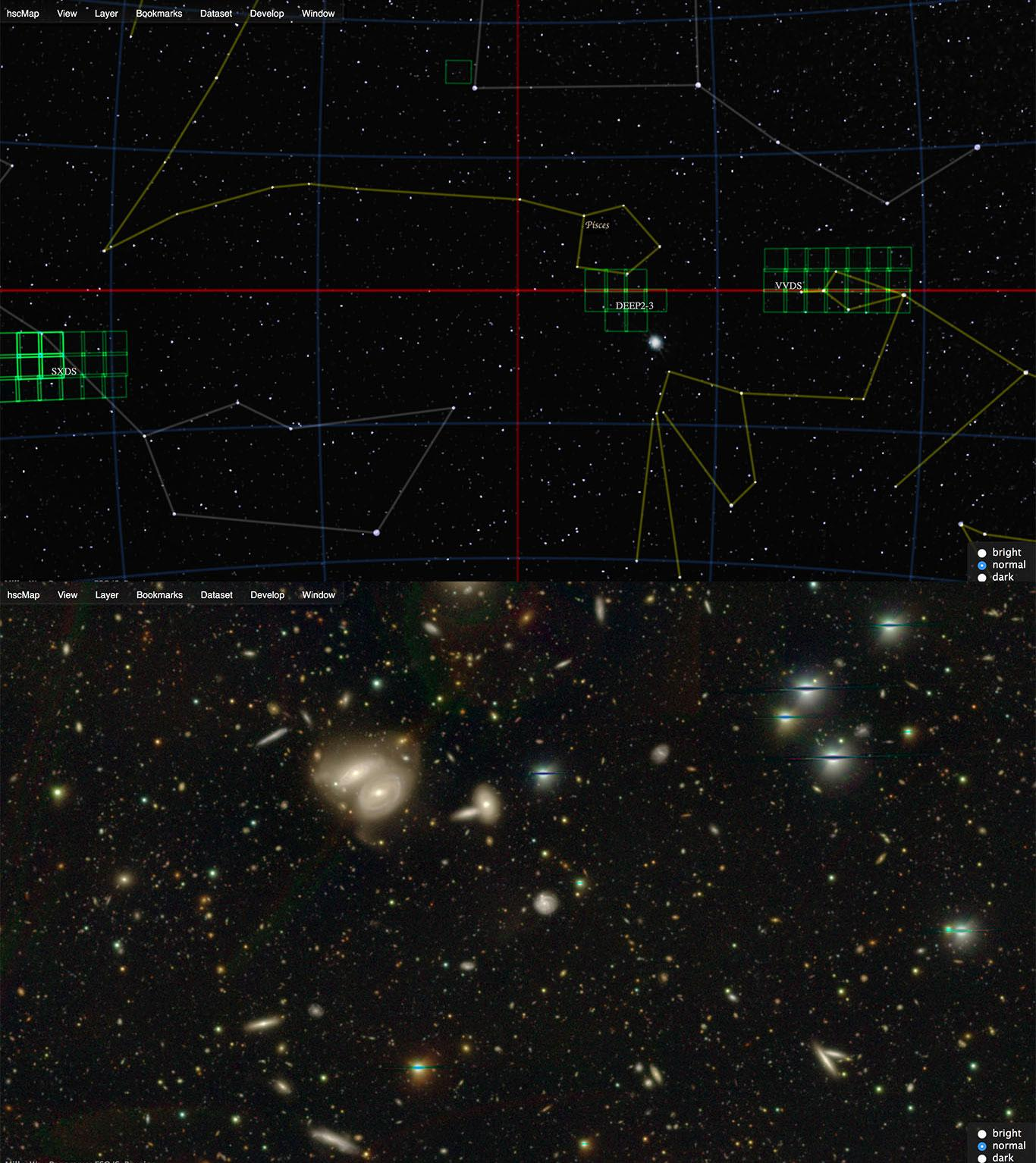 Amazing Universe Captured with the Subaru Telescope ~ 'HSC Viewer' Released to the Public ~ Figure