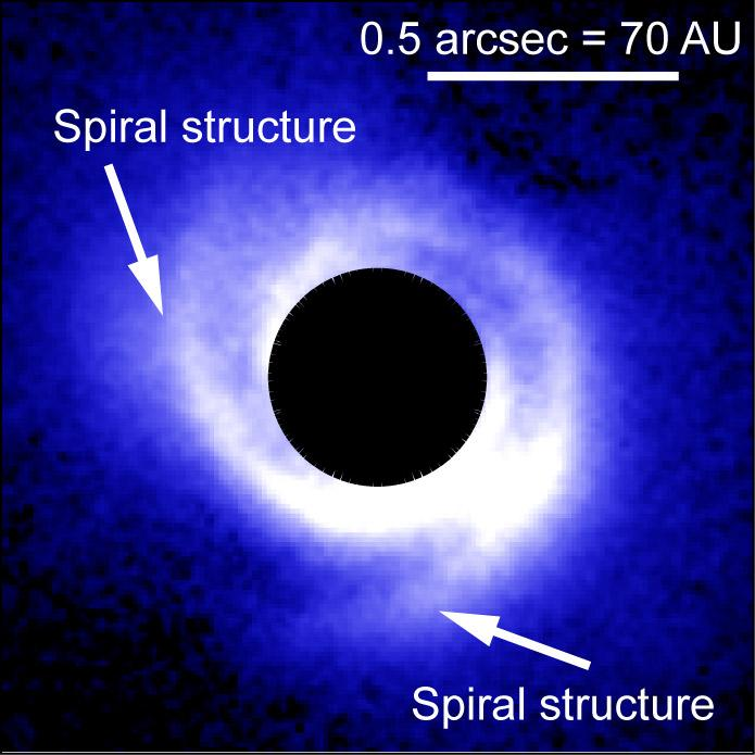 Spiral Structure of Disk May Reveal Planets Figure1
