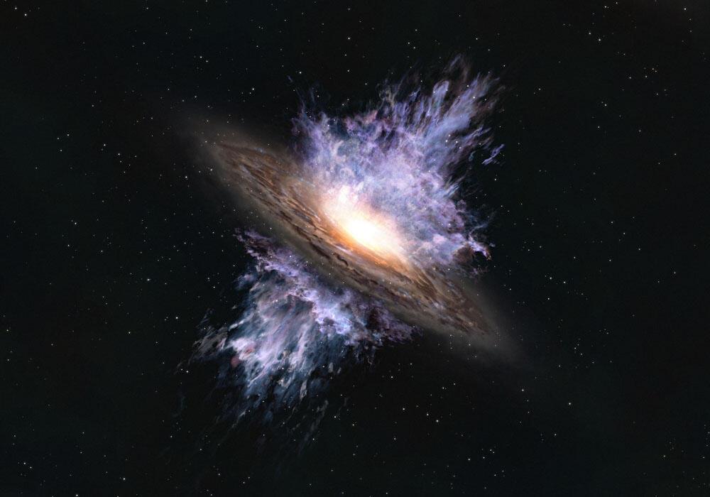 131 億年前に吹き荒れる最古の巨大ブラックホールの嵐 図