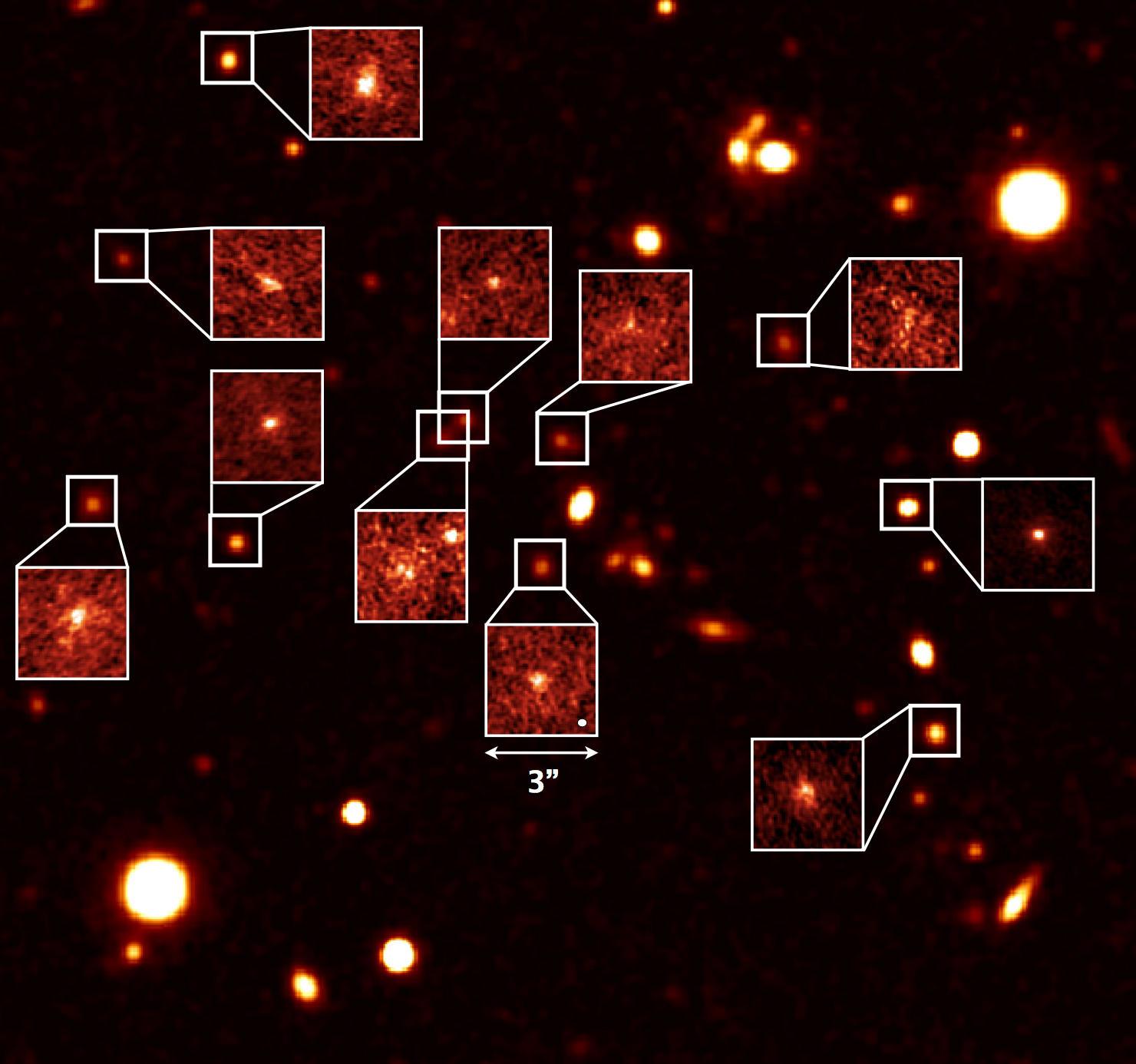 新手法で「解剖」した成長中の銀河の姿 図