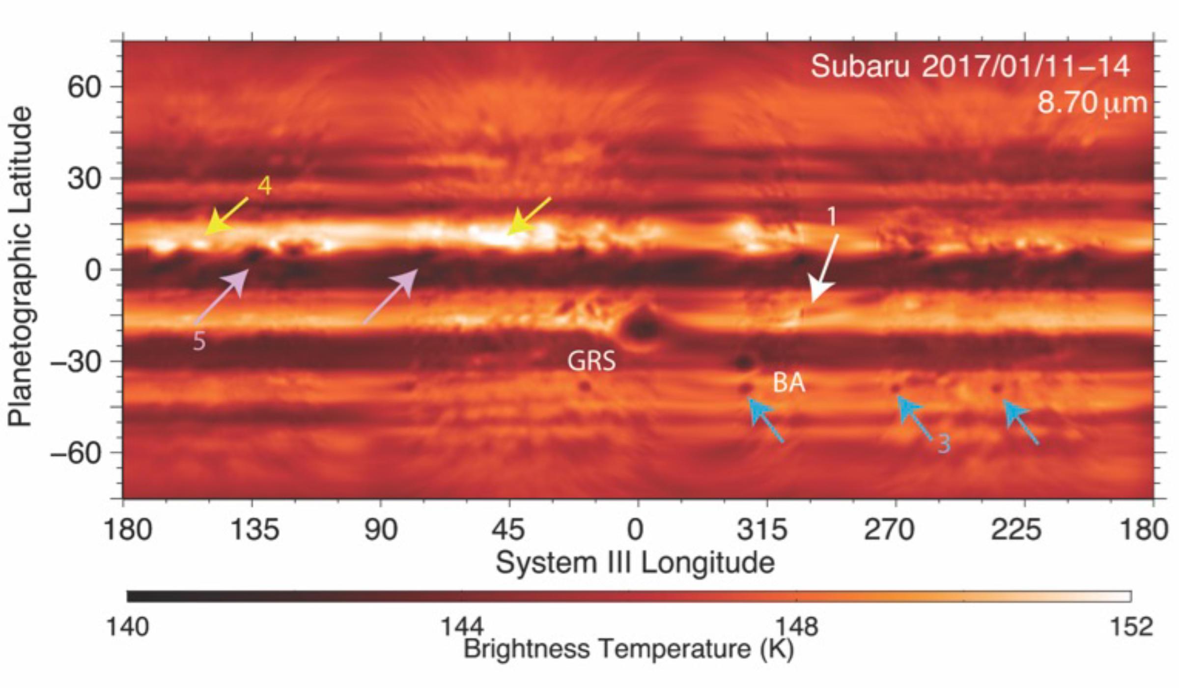多波長観測で捉えられた木星の嵐 図