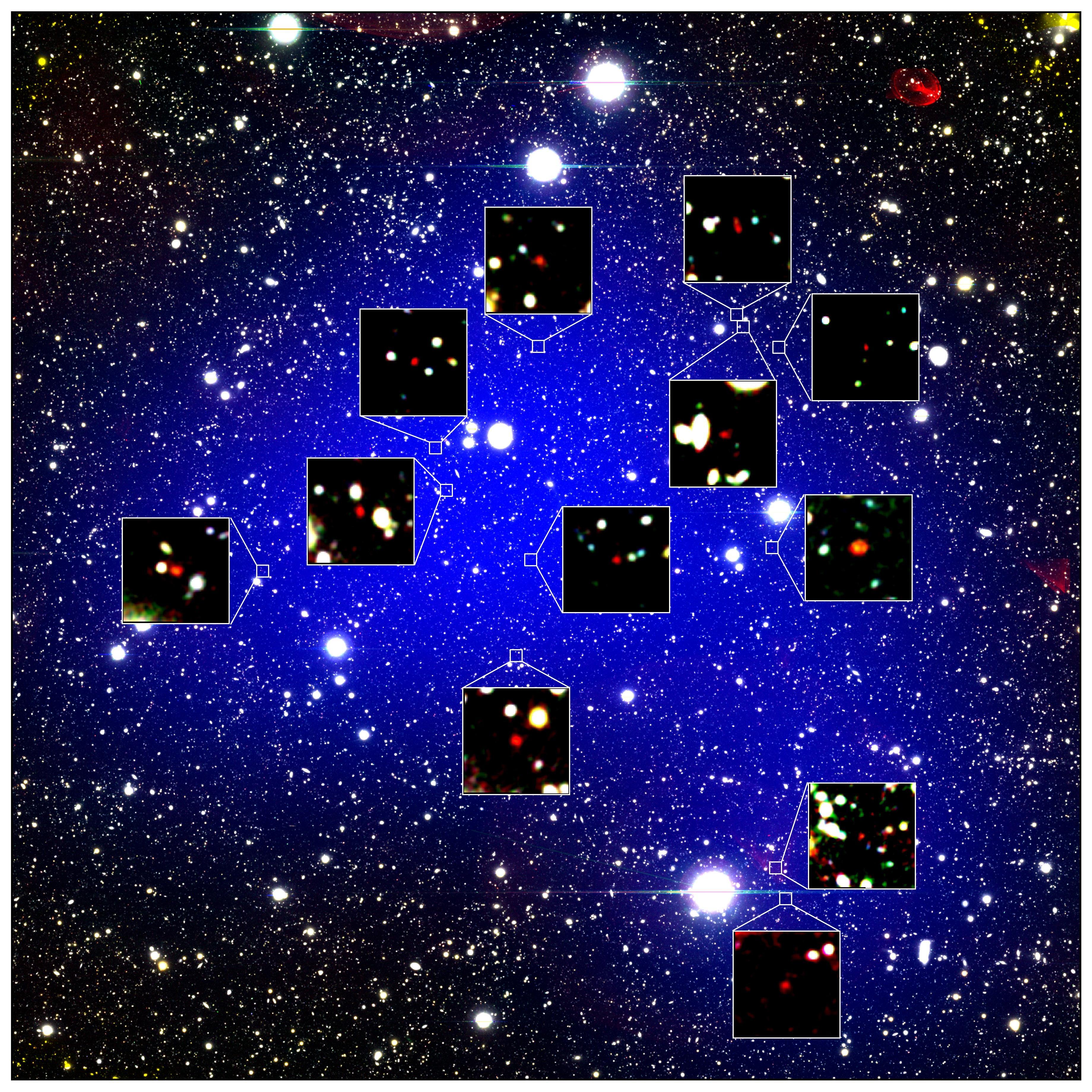 すばる望遠鏡、130 億光年かなたの宇宙に銀河団を発見 図