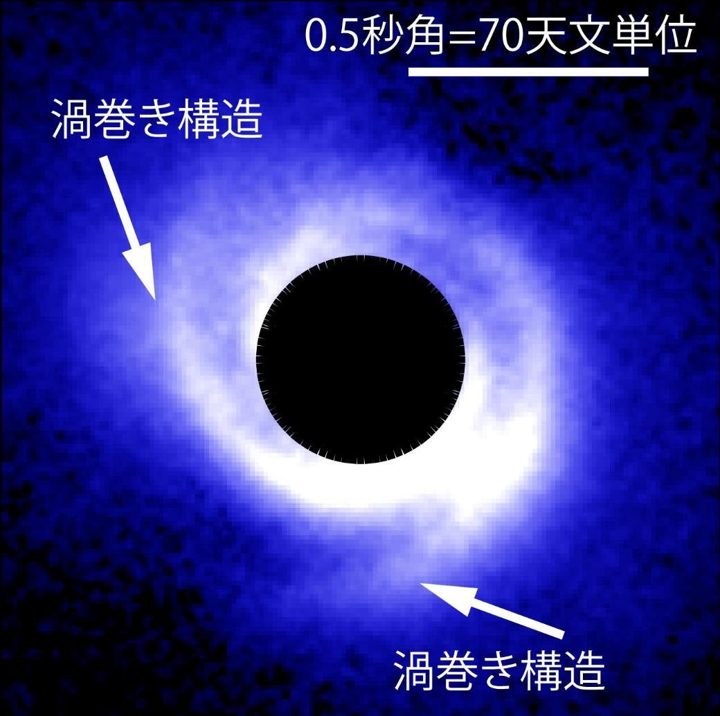 原始惑星系円盤に小さな渦巻き構造を発見 -- 密度波理論で探る惑星形成の現場 図
